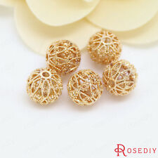 (30712)6PCS 11MM 24K Gold Plated Brass Hollow Spacer Beads Bracelet Beads