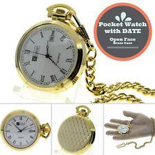 Gold Antique Men with DATE Quartz Pocket Watch Gift Brass Case + Fob Chain P29