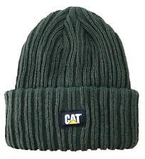 Mens Caterpillar CAT Rib Watch Cap Forest Green Workwear Knit Beanie Hat