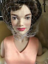 "Franklin Mint Jackie Kennedy 15"" Vinyl Doll in Peach Dress Ensemble w/Stand Nrfb"