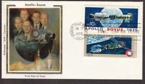 1975 Apollo-Soyuz Sc 1570a pair FDC Colorano Silk cachet