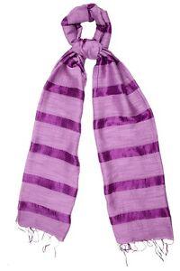 Purple Scarf Silk and Linen Stripe Amethyst - Fair Trade BNWT 180cm x 80cm