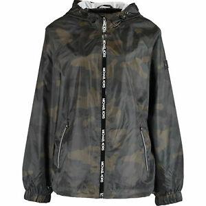 MICHAEL KORS Men's Lightweight Zip Jacket, Olive Camo, size LARGE