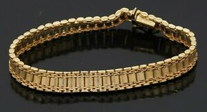 Heavy 18K yellow gold elegant high fashion 8mm wide fancy link bracelet