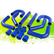 """UNIVERSAL 2.75"""" 8 PCS ALUMINUM INTERCOOLER PIPING+T-CLAMPS+SILICONE HOSES BLUE"""