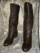 NEW LORD & TAYLOR DK BROWN LEATHER LOW HEEL FLAT RIDING BIKER  BOOTS 6 M SHARA