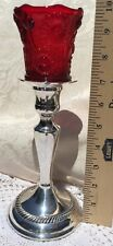 Vintage Silver Plated Candlestick Antique Regency Style  Single Red Glass Top