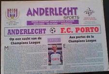 Programme ANDERLECHT Belgium - FC PORTO Portugal 2000-2001 Champions League