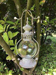 Frz. Stall Laterne m. Glaseinsatz Windlicht zum Aufhängen/Stellen Vintage Grau