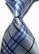 New Silver Black Blue Stripe Scottish Tartan Style Mens Silk UK Burns Night Tie