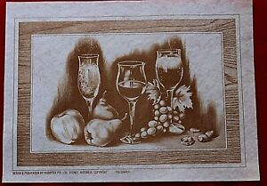 "Vintage (1980's) Hobbytex ""Wine Glass Still Life"", Placemat  With Instructions"