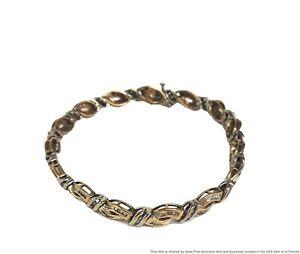 Genuine Diamond Solid 14k White Yellow Gold Ladies Tennis Bracelet