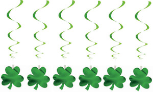 Set 6 Irish St Patricks Day Shamrock Hanging PVC & Paper Swirl Decorations QR34