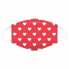 Red with White Hearts Reusable Face Covering - Large