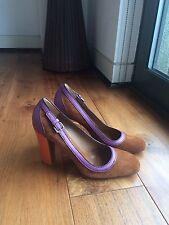 PRADA Brown Suede Purple Orange Leather Heels SZ 38.5/UK 5.5