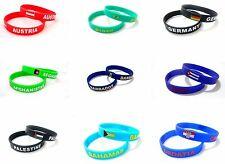 Unisex Country Flag Rubber Silicone Bracelet Sport Fashion Wristband Cuff