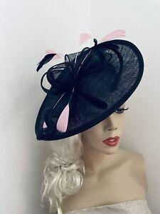 Navy Pink Fascinator Wedding Saucer Hat Formal Ladies Womens Ascot Hatinator