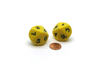 Pack of 2 D10 10-Sided Jumbo Opaque Dice - Yellow with Black Numbers