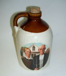 Brown and White Stoneware Jug with Ma and Pa