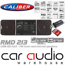 Caliber RMD213 12/24 Volt 75x4 W Mechless SD USB AUX Car Stereo FM Radio Player