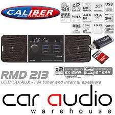 Caliber RMD213 12/24 Volt 75x4 W Mechless SD USB AUX Car Stereo FM Radio Player