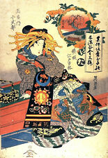 Set of 3 Repro Woodblock Art Prints Japanese Geisha Women Pictures By Eisen