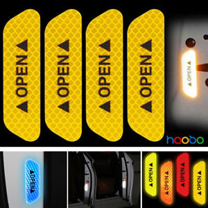 4x Super Yellow Car Door Open Sticker Reflective Tape Safety Warning Decal