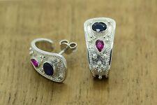 Byzantine Earrings Rubies Sapphires 925 Sterling Silver Platinum Plated GREEk