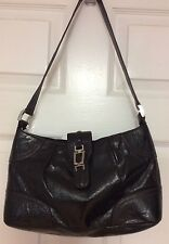 Etienne Aigner women's handbag black tumbled leather shoulder strap satchel H26