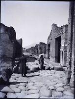 Italia Pompei c1900, Negativo Foto Stereo Placca Lente L9n4