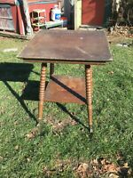 Vintage Victorian  Oak Table with  Glass Ball and Claw Feet