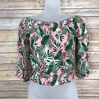 Self Esteem Juniors Small Off The Shoulder Flare Sleeve Blouse Floral Print Top