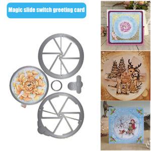 5PCS Magic Window Slider Card Cutting Dies SET Slot Spin Vintage Frames StampNEW