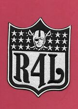 "New Oakland Raiders ' R4L' Raider for Life 7 3/4X 10"" Iron on Patch Free Ship"