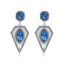 Fashion Bohe Exaggerated Triangle Blue Crystal Dangle Tassel Ear Stud Earrings