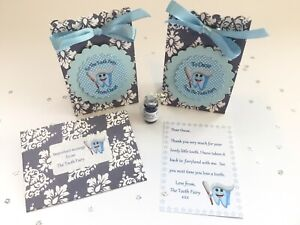 Personalised Tooth Fairy Letter, Gift Bags, Fairy Dust, First Tooth, Blue
