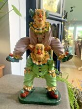 More details for jun asilo style painted resin? model showing two clowns leapfrogging - 34cm tall