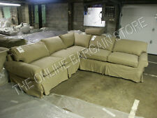 Pottery Barn pb Basic Sofa Sectional with slipcover WALNUT Canvas DOWN cushions