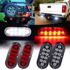 "2 Red + 2 White 6"" Oval Oblong LED Back-up Stop Turn Tail Light RV Truck Trailer"