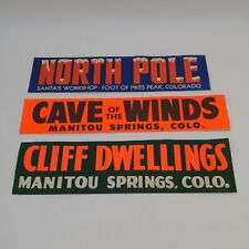 Vtg Bumper Stickers -North Pole, Manitou Springs Cliff Dwellings, Cave Winds CO