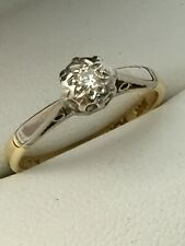 Early Vintage 18ct Yellow Gold & Platinum  Diamond Solitaire Ring Size I 1/2
