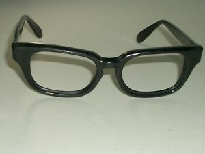 46-18 VINTAGE BAUSCH & LOMB 6 THICK SLEEK BLACK EBONY EYEGLASSES FRAMES