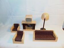 Hong Kong Doll House Furniture Sofa Chairs Fireplace Lamp TV