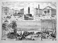 Triest, Trieste, Italien, Ansichten, Original-Holzstich von 1878