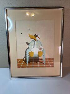 "Michael Bedard 'Sitting Duck' Lithograph Luna Art Venice CA 8.5x10.5"""