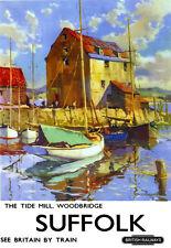 Molino De Woodbridge Suffolk británico la marea ferrocarriles carril viajar cartel impresión