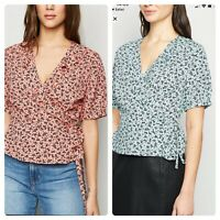 New Look Wrap Blouse Top Size 8,10 & 12 Pink Or Blue In Ditsy Floral EZ34