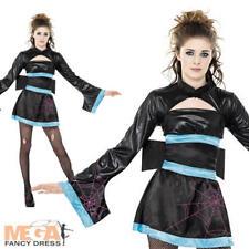 Spider Geisha Girls Teen Halloween Japanese Fancy Dress Oriental Costume Outfit