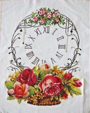 """NEW finished completed Cross stitch""""Flowers Clock""""wall home decor gift"""