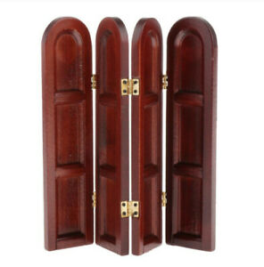 1:12 Dollhouse Miniature Furniture Wood Room Privacy Divider Screen 4 Panel Fold